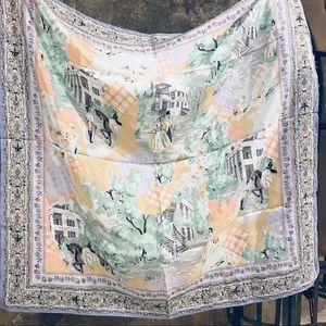 Vintage romantic Victorian scenes pictorial scarf